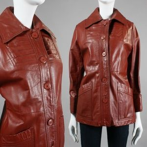 XL Vintage 1970s Brick Red Leather Jacket 💲Firm✌